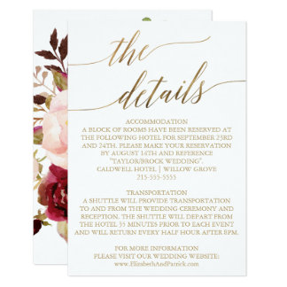 Carte Détails floraux élégants de mariage de la