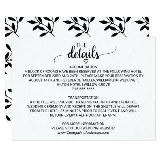 Carte Détails noirs et blancs simples de mariage de