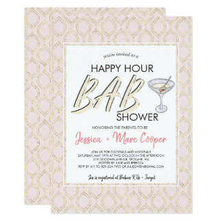 Carte d'heure heureuse du baby shower | de couples