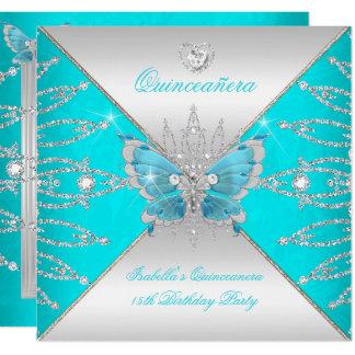 Carte Diadème argenté bleu turquoise de papillon de