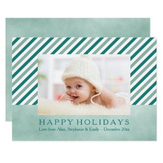 Carte diagonale turquoise de vacances de photo de carton d'invitation  12,7 cm x 17,78 cm