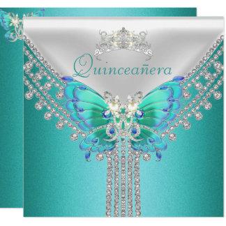 Carte Diamant blanc bleu turquoise de papillon de