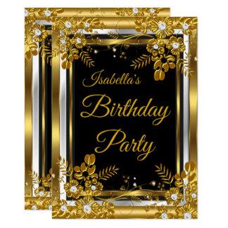 Carte Diamant blanc de noir d'or de fête d'anniversaire