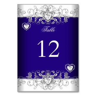 Carte Diamant d'argent de mariage de bleu royal de nombr
