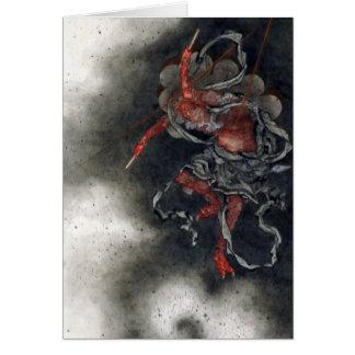 """Carte """"Dieu de tonnerre"""" par Hokusai"""