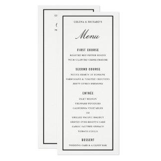 Carte Dîner de mariage élégant et menu blanc noir de