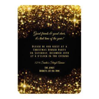 Carte Dîner élégant de Noël de parties scintillantes