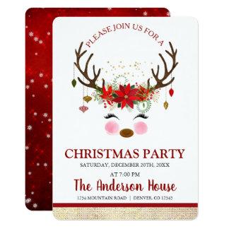 Carte Dîner mignon de vacances de Noël de renne