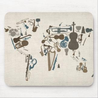 Carte d'instruments de musique du monde tapis de souris
