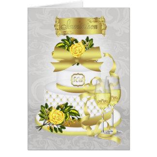 Carte d'invitation d'anniversaire de mariage d'or