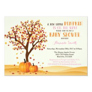 Carte d'invitation de baby shower de citrouille