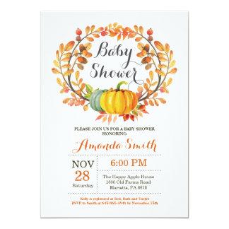 Carte d'invitation de baby shower de citrouille de