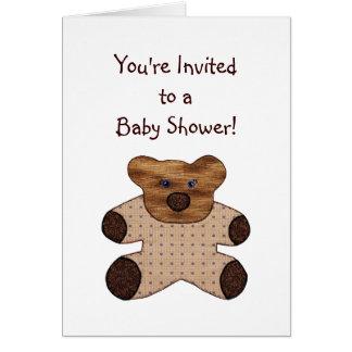 Carte d'invitation de baby shower d'ours de