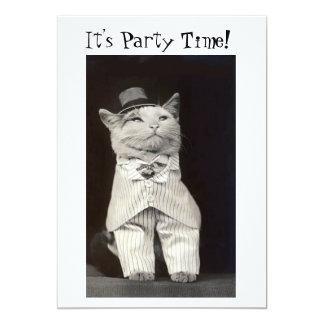 Carte d'invitation de chat de partie carton d'invitation  12,7 cm x 17,78 cm