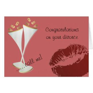 Carte Divorce de champagne et de rouge à lèvres
