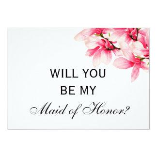 Carte Domestique de mariage de magnolia d'honneur rose