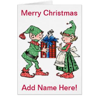 Carte Donner vintage de cadeau d'elfes de Noël