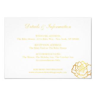 Carte d'or de directions de roses - blanc carton d'invitation 8,89 cm x 12,70 cm