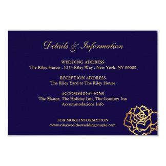 Carte d'or de directions de roses - bleu carton d'invitation 8,89 cm x 12,70 cm