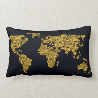 Carte d'or du monde de point coussin rectangle