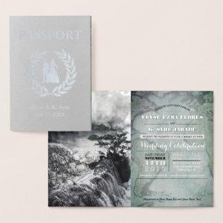 Carte Dorée aluminium argenté de passeport de mariage