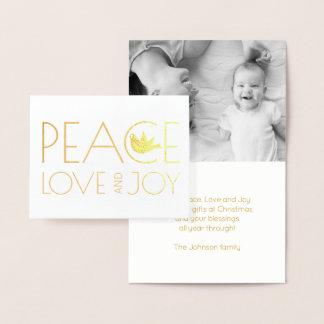 Carte Dorée Amour de paix et or de photo de Noël de colombe de