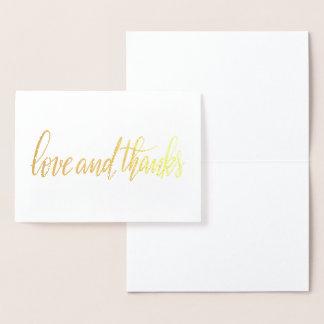 Carte Dorée Amour élégant et mariage manuscrit de manuscrit de