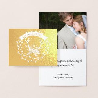 Carte Dorée Andouillers de guirlande de feuille d'or de photo