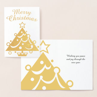 Carte Dorée Arbre d'or de Joyeux Noël