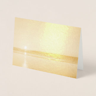 Carte Dorée Beau coucher du soleil d'or