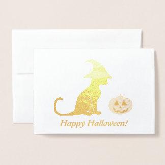 Carte Dorée Chat et citrouille de sorcière de Halloween