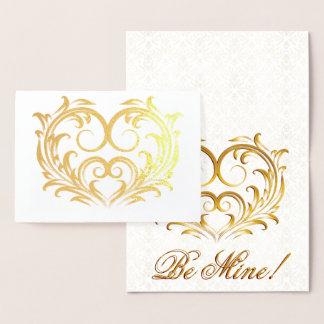 Carte Dorée Coeur en filigrane de feuille d'or - soyez le mien