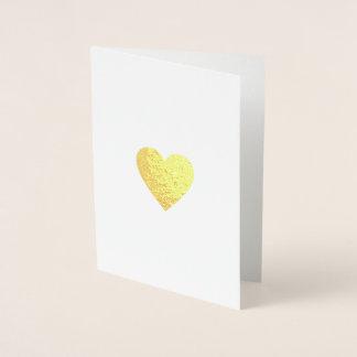 Carte Dorée coeur romantique minimaliste d'amour