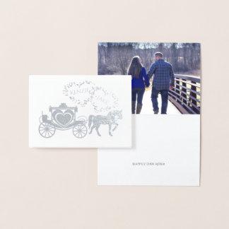 Carte Dorée De conte de fées de chariot Merci heureusement