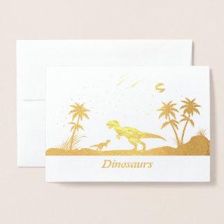 Carte Dorée Dinosaure sous les étoiles