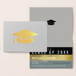 Carte Dorée diplômé moderne, rayé et élégant. or de diplômé