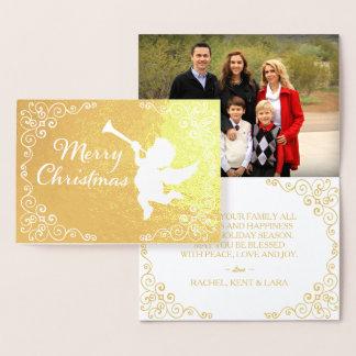 Carte Dorée D'or de Joyeux Noël personnalisé