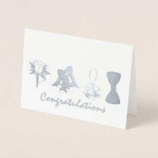 Carte Dorée Félicitations épousant l'arc de fleur de Bell de