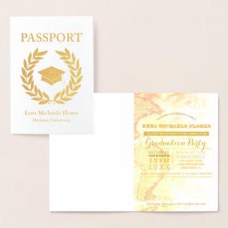 Carte Dorée Feuille d'or de passeport de fête de remise des
