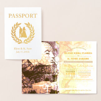 Carte Dorée feuille d'or de passeport de mariage de