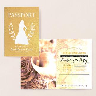 Carte Dorée Feuille d'or de passeport de partie de