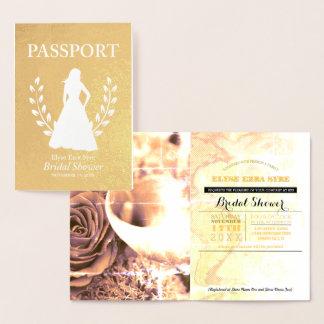 Carte Dorée Feuille d'or nuptiale de passeport de douche