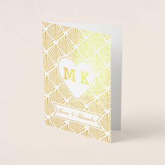 Carte Dorée Grand monogramme de coeur d'art déco de Gatsby de