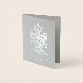Carte Dorée Hiboux royaux argentés gris nobles de Merci