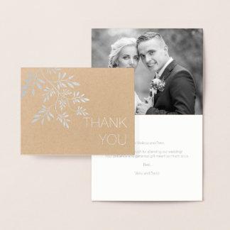 Carte Dorée Laisse l'argent de photo de Merci de mariage de