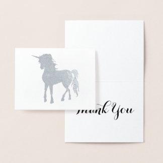 Carte Dorée Merci argenté de licorne