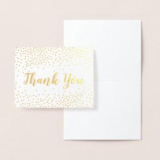 Carte Dorée Merci de confettis de feuille d'or