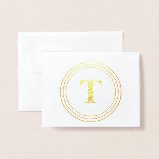 Carte Dorée Merci de monogramme de cercle