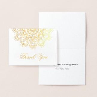 Carte Dorée Merci élégant de mandala de feuille d'or