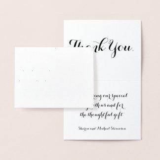 Carte Dorée Merci épousant le motif argenté de damassé
